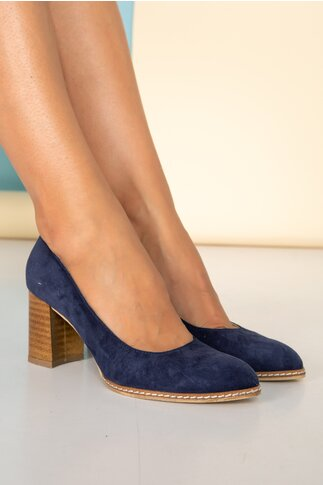 Pantofi bleumarin cu toc gros si cusaturi laterale
