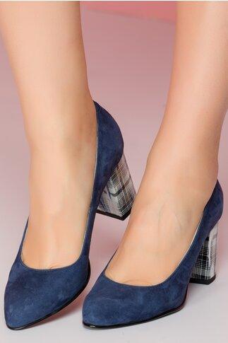 Pantofi bleumarin cu toc gros si imprimeu in dungi argintii