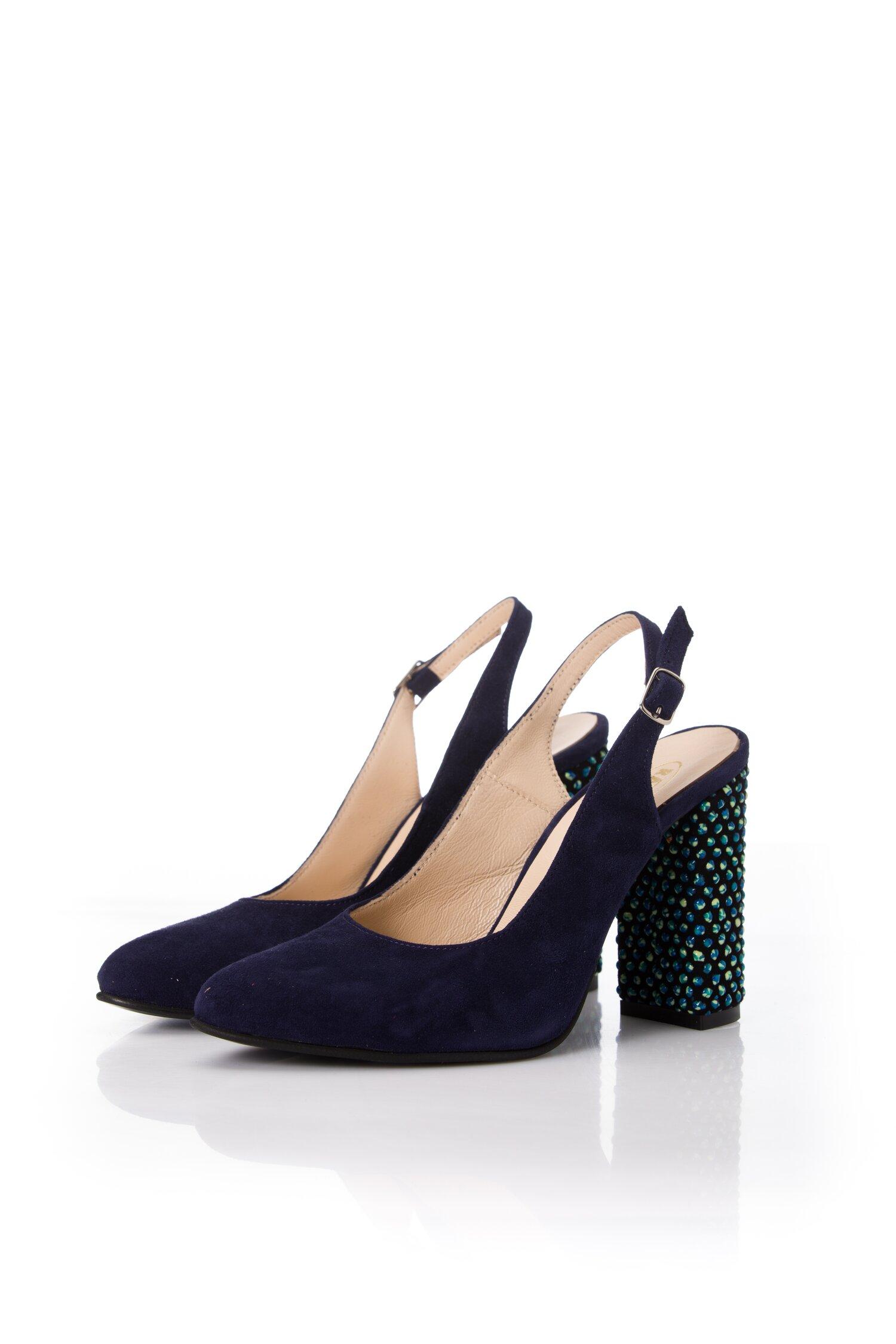 Pantofi bleumarin din piele intoarsa cu sfere 3D pe toc imagine