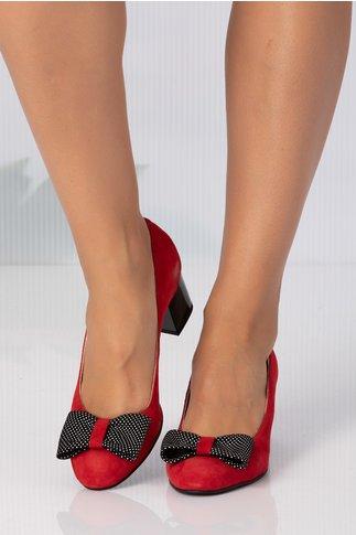 Pantofi bordo cu fundita maxi in fata