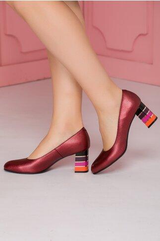 Pantofi bordo cu toc lacuit multicolor in dungi