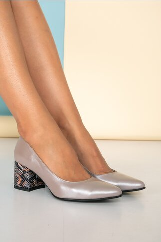Pantofi bronz cu toc gros cu imprimeu snake