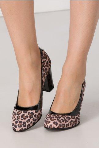 Pantofi Camlille roz cu animal print