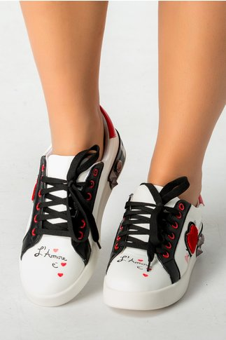 Pantofi casual alb cu negru si detalii rosii