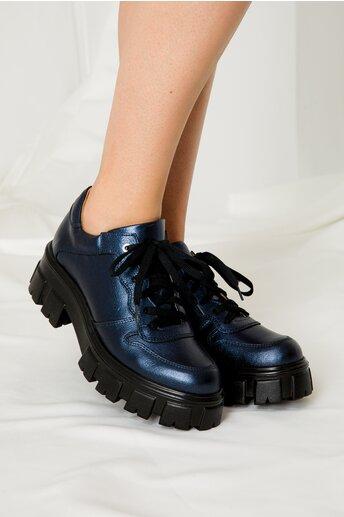 Pantofi casual bleumarin metalizat cu talpa inalta