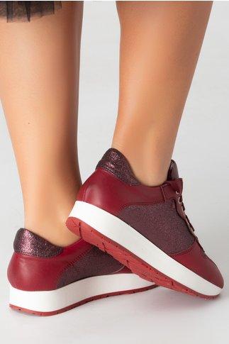 Pantofi casual bordo cu detalii in nuanta metalizat