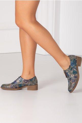 Pantofi casual cu insertii aurii si imprimeu floral