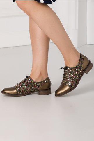 Pantofi casual Khloe broz cu insertii florale
