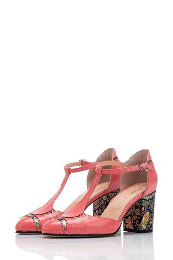 Pantofi Cesia roz cu imprimeu multicolor pe toc si varf