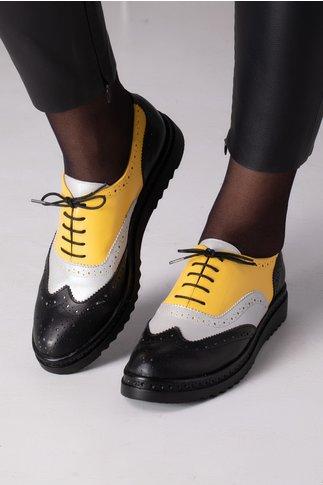 Pantofi Cezara negri cu argintiu si galben