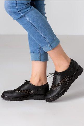 Pantofi Cezara negri cu imprimeu auriu