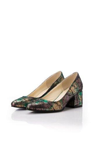 Pantofi Clara  verzi cu imprimeu metalizat