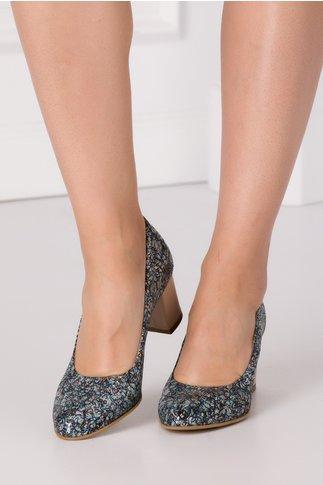 Pantofi cu imprimeuri bleumarin si auriu