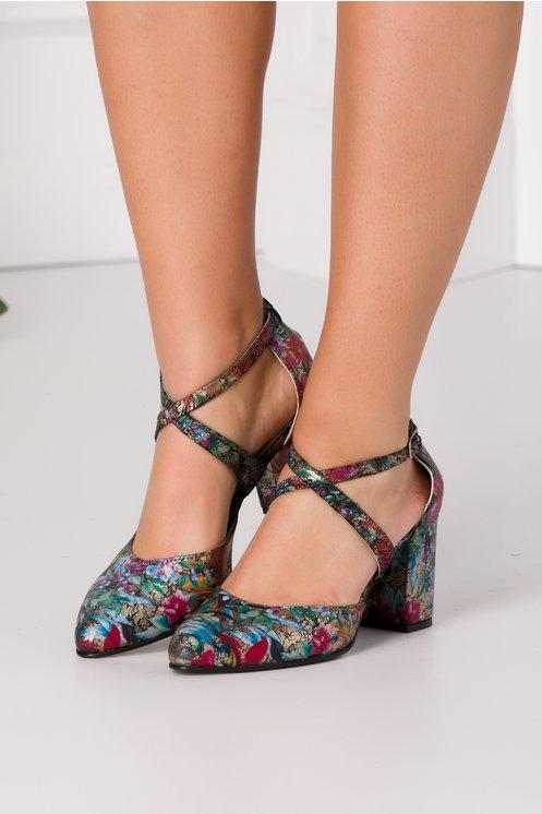 Pantofi Dada cu imprimeuri floral si detalii aurii