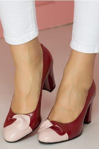 Pantofi dama bordo cu funda roz