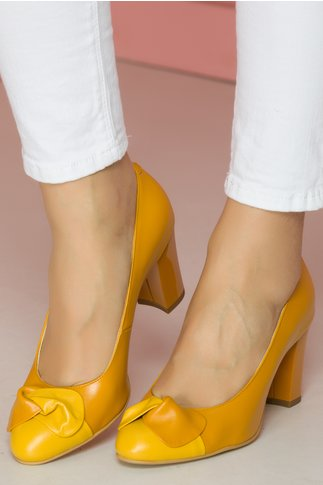 Pantofi dama galbeni cu funda