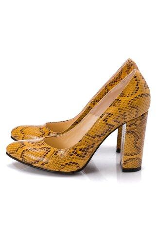 Pantofi dama galbeni cu imprimeu piele de sarpe