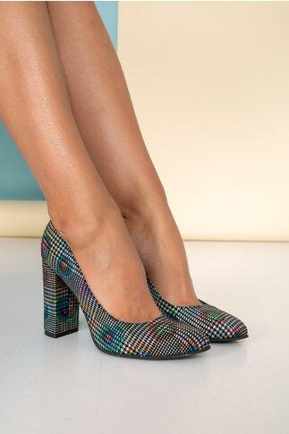 Pantofi dama multicolori din piele intoarsa cu accente stralucitoare