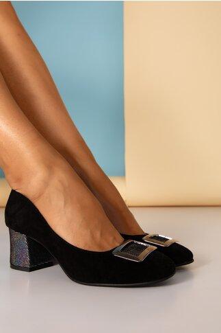 Pantofi dama negri din piele naturala office cu aplicatie metalica si toc gros