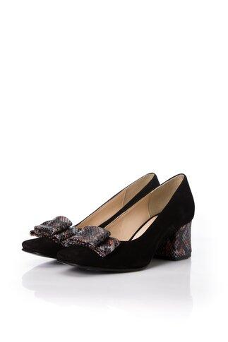 Pantofi dama negri din piele naturala office cu imprimeu snake pe funda si toc