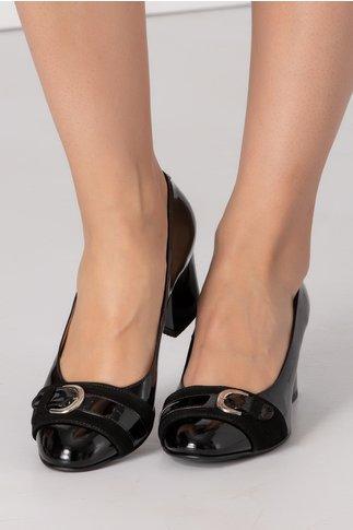 Pantofi dama negri lacuiti si catarama