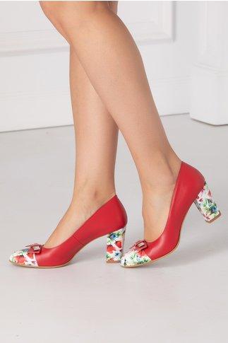 Pantofi dama rosii cu detalii florale