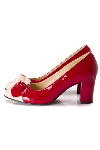 Pantofi dama rosii cu funda bej