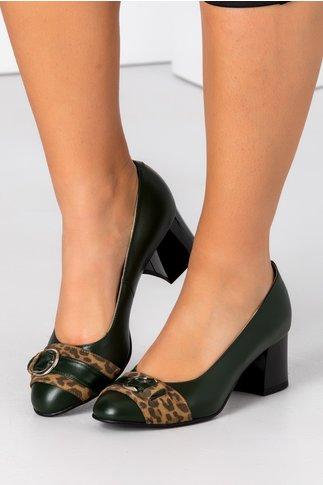 Pantofi dama verde inchis cu animal print si catarama