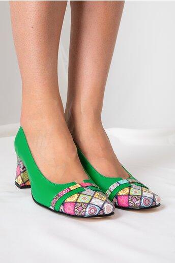 Pantofi dama verzi cu imprimeuri mandala multicolore