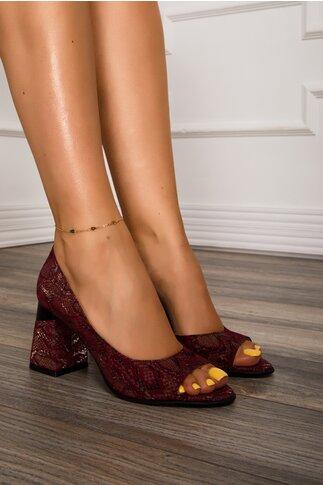 Pantofi decupati bordo cu snake print