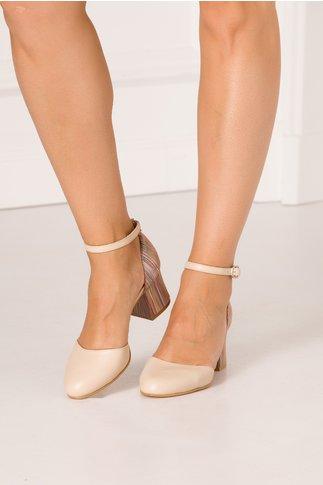 Pantofi decupati crem cu imprimeu cu dungi multicolore in partea din spate