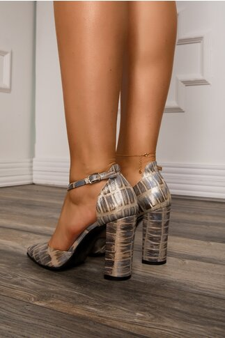 Pantofi decupati cu imprimeuri in nuante de gri si reflexii stralucitoare