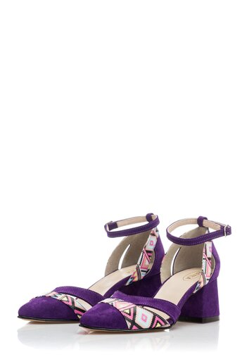 Pantofi decupati din piele intoarsa mov cu imprimeu geometric