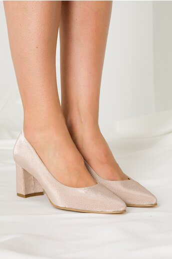 Pantofi Delia sampanie cu insertii stralucitoare