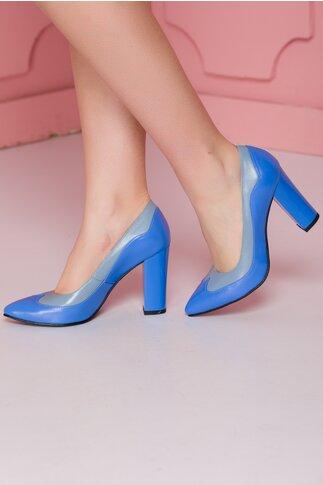Pantofi din piele in doua nuante de albastru si toc lucios