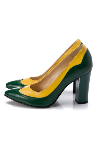 Pantofi din piele in nuante de verde si galben si toc lucios