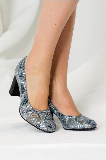 Pantofi din piele naturala gri cu imprimeuri geometrice
