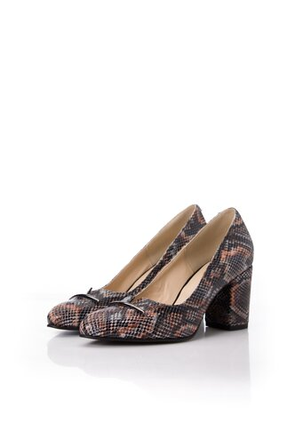 Pantofi din piele snakeprint si aplicatie pe varf