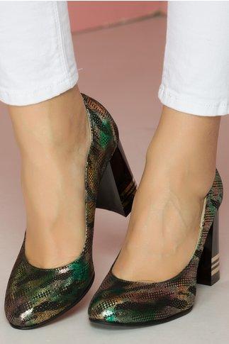 Pantofi eleganti cu imprimeu verde metalizat