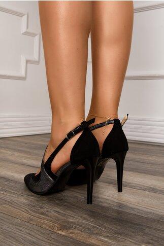 Pantofi eleganti negri din piele intoarsa cu decupaj deosebit