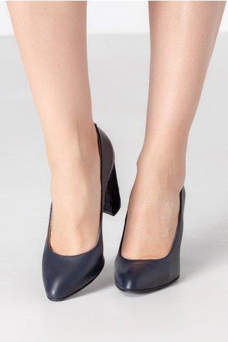 Pantofi Ely bleumarin cu toc imprimat