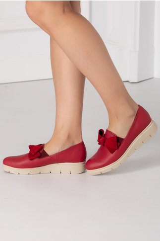 Pantofi Emma rosii cu funda