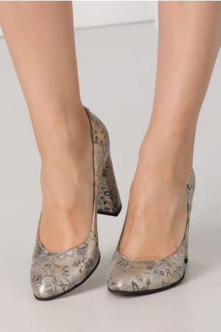 Pantofi Flamina aurii cu imprimeu argintiu