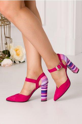 Pantofi fucsia din piele intoarsa cu dungi la spate