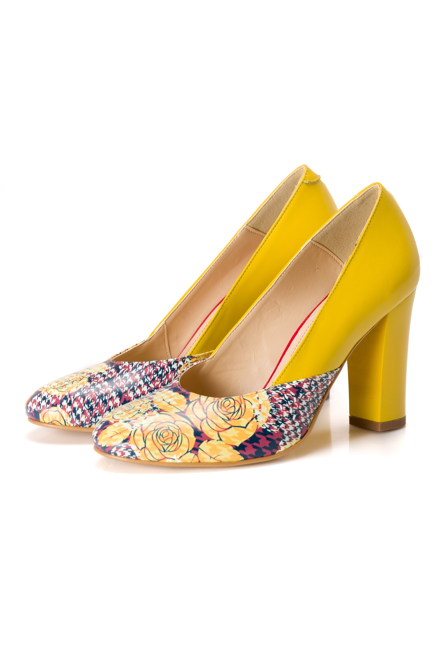 Pantofi galben cu imprimeu floral pe varf si toc lacuit imagine