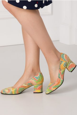 Pantofi galbeni cu imprimeu in zig-zag multicolor si insertie tip plasa