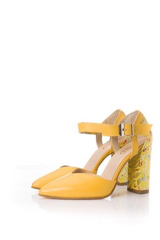 Pantofi galbeni din piele naturala cu imprimeu colorat pe toc