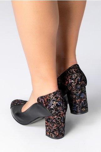 Pantofi Greenary negri cu insertii florale
