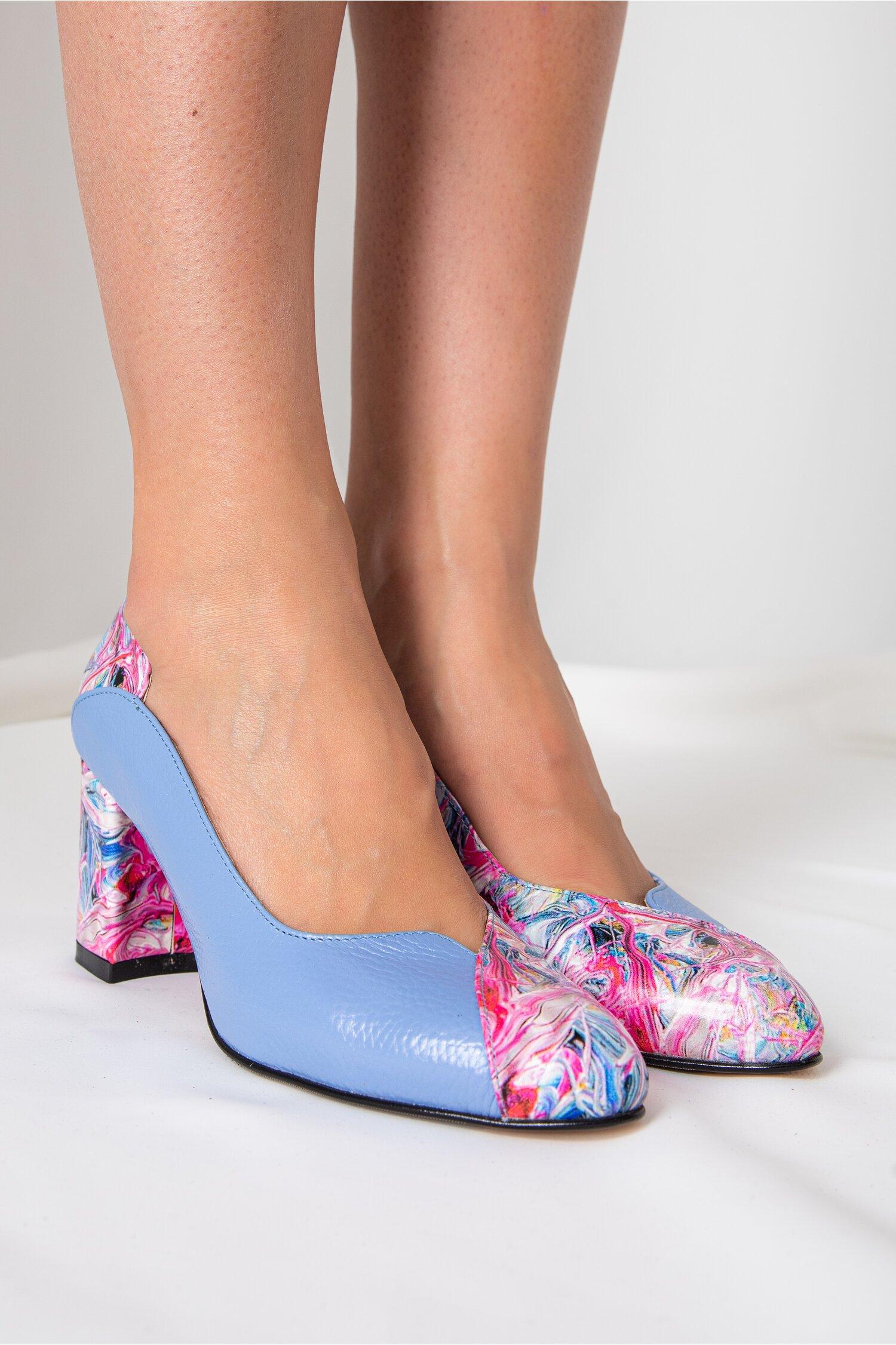 Pantofi Greenary office bleu cu imprimeuri multicolore