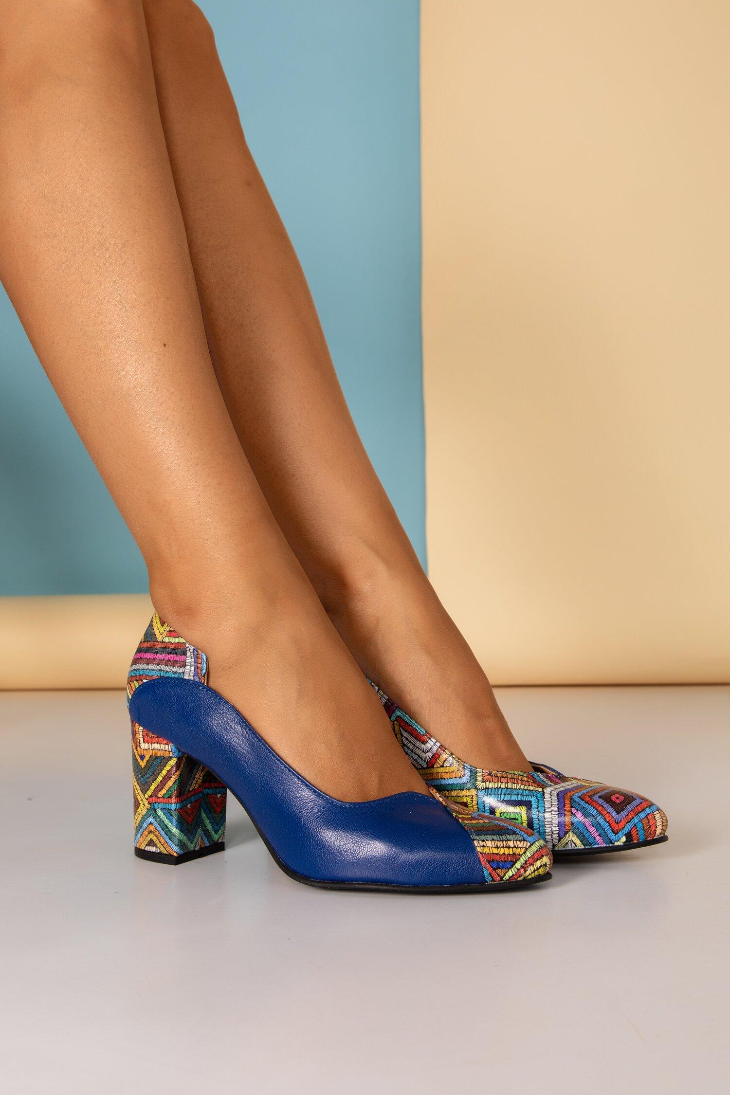 Pantofi Greenary office bleumarin cu imprimeuri in dungi
